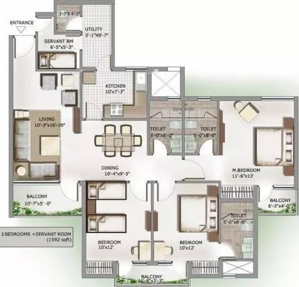 1592 sqft, 3 bhk Apartment in 3C Lotus Panache Sector 110, Noida at Rs. 60.4960 Lacs