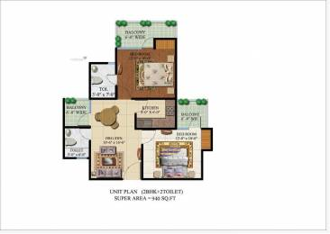 940 sqft, 2 bhk Apartment in Habitech Infrastructure Panchtatva Phase 2 Noida Extension, Noida at Rs. 34.0000 Lacs