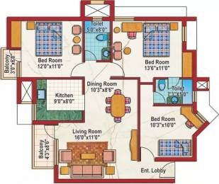 1265 sqft, 3 bhk Apartment in Purvanchal Silver City 2 PI, Greater Noida at Rs. 16000