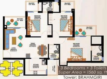 1560 sqft, 3 bhk Apartment in Eros Sampoornam Sector 2 Noida Extension, Greater Noida at Rs. 12000