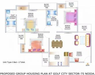 1350 sqft, 3 bhk Apartment in Gardenia Golf City Sector 75, Noida at Rs. 62.0000 Lacs