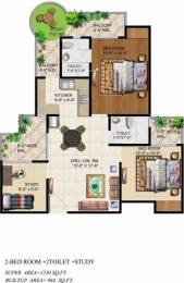 1230 sqft, 2 bhk Apartment in Ajnara Grand Heritage Sector 74, Noida at Rs. 57.0000 Lacs