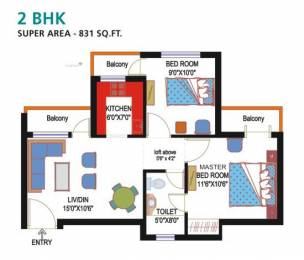 831 sqft, 2 bhk Apartment in Nimbus Express Park View CHI 5, Greater Noida at Rs. 6000