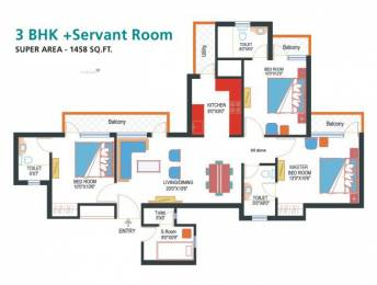 1458 sqft, 3 bhk Apartment in Nimbus Express Park View CHI 5, Greater Noida at Rs. 8000