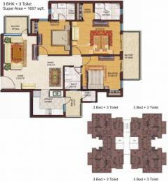 1697 sqft, 3 bhk Apartment in Spaze Privvy The Address Sector 93, Gurgaon at Rs. 69.0100 Lacs