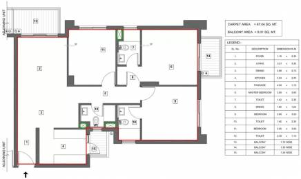1460 sqft, 3 bhk Apartment in Vatika Turning Point Sector 88B, Gurgaon at Rs. 95.0000 Lacs