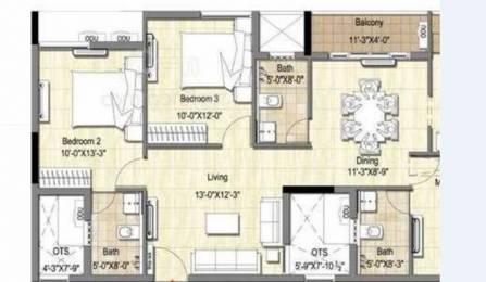 1250 sqft, 3 bhk Apartment in Builder Project Boopathy Nagar Road, Chennai at Rs. 66.2500 Lacs