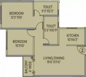 1010 sqft, 2 bhk Apartment in Siddha Galaxia 2 Rajarhat, Kolkata at Rs. 43.0020 Lacs