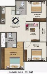 884 sqft, 3 bhk Apartment in Sowparnika Indraprastha Whitefield Hope Farm Junction, Bangalore at Rs. 26.6510 Lacs