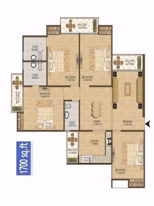 1700 sqft, 4 bhk Apartment in Antriksh New Dwarka Residency Chhawla, Delhi at Rs. 53.5500 Lacs