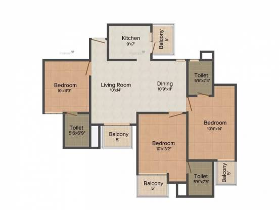 1430 sqft, 3 bhk Apartment in Mapsko Casa Bella Sector 82, Gurgaon at Rs. 12000