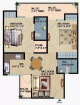 1,175 sq ft 2 BHK + 2T Apartment in Ajnara Integrity