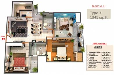 1341 sqft, 3 bhk Apartment in Proview Officer City Raj Nagar Extension, Ghaziabad at Rs. 11000