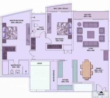 1718 sqft, 2 bhk Apartment in Shrachi Rosedale Garden New Town, Kolkata at Rs. 25000