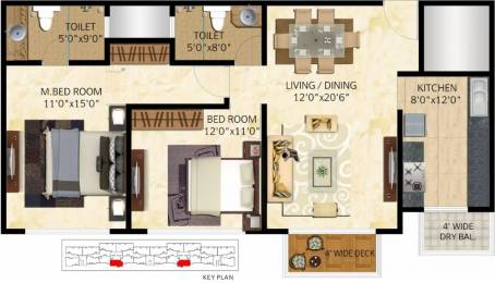1195 sqft, 2 bhk Apartment in Mittal Elanza Kogilu, Bangalore at Rs. 59.0000 Lacs