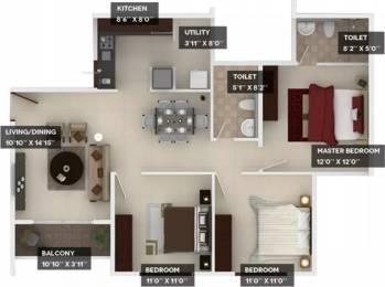 1262 sqft, 3 bhk Apartment in Provident Harmony Jakkur, Bangalore at Rs. 21000