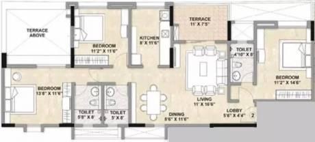 1400 sqft, 3 bhk Apartment in Kalpataru Estate Pimple Gurav, Pune at Rs. 20000