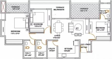1335 sqft, 3 bhk Apartment in VTP Urban Nest Undri, Pune at Rs. 82.0000 Lacs