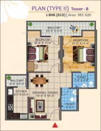 985 sqft, 2 bhk Apartment in K World Estates Builders KW Srishti Raj Nagar Extension, Ghaziabad at Rs. 30.0000 Lacs