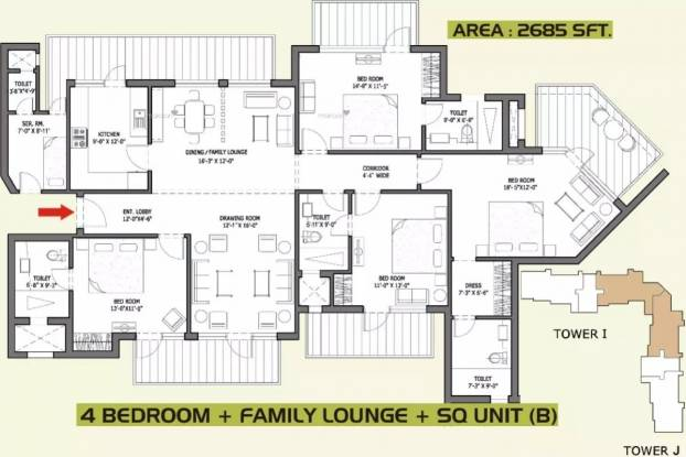 2685 sqft, 4 bhk Apartment in Bestech Park View Spa Next Sector 67, Gurgaon at Rs. 2.1150 Cr
