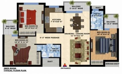 1500 sqft, 3 bhk Apartment in Mona City Sector 115 Mohali, Mohali at Rs. 35.0000 Lacs