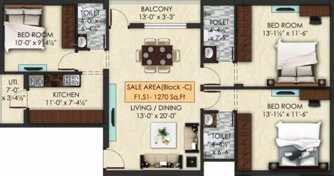 1270 sqft, 3 bhk Apartment in Aara Marvel Kilpauk, Chennai at Rs. 1.2417 Cr