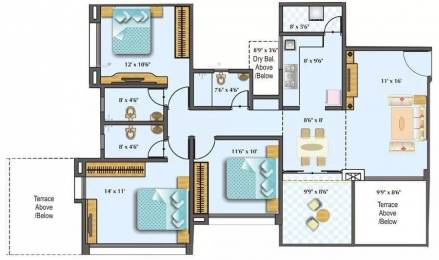 1349 sqft, 3 bhk Apartment in Rama Costa Rica Wakad, Pune at Rs. 90.0000 Lacs