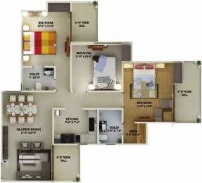 1464 sqft, 3 bhk Apartment in Supertech Eco Village 1 Sector 1 Noida Extension, Greater Noida at Rs. 45.0000 Lacs