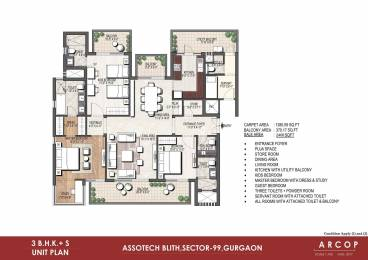 2400 sqft, 3 bhk Apartment in Assotech Blith Sector 99, Gurgaon at Rs. 1.2600 Cr