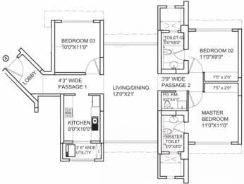 1495 sqft, 3 bhk Apartment in Runwal Anthurium Mulund West, Mumbai at Rs. 55000