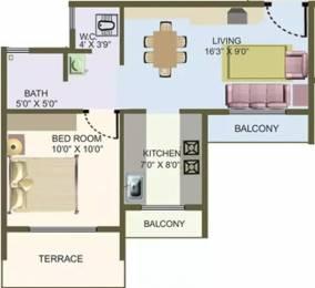 670 sqft, 1 bhk Apartment in Nisarg Hyde Park Kharghar, Mumbai at Rs. 14000