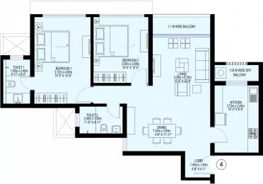 1080 sqft, 2 bhk Apartment in Sea Gundecha Trillium Kandivali East, Mumbai at Rs. 45000
