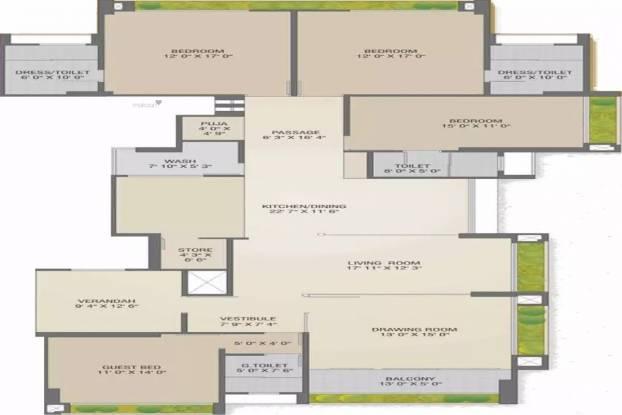 3525 sqft, 4 bhk Apartment in Sharanya Bellevue Thaltej, Ahmedabad at Rs. 2.1000 Cr