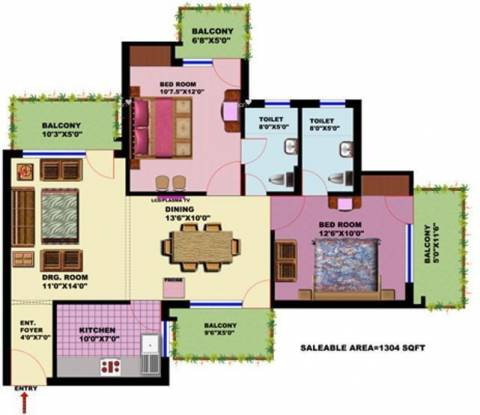 1304 sqft, 2 bhk Apartment in SRS SRS Residency Sector 88, Faridabad at Rs. 37.5000 Lacs