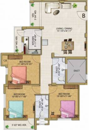 1375 sqft, 3 bhk Apartment in Eden Astor Park Garia, Kolkata at Rs. 58.0000 Lacs