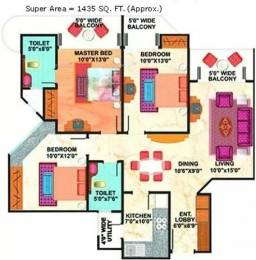 1435 sqft, 3 bhk Apartment in Mahagun Maestro Sector 50, Noida at Rs. 92.0000 Lacs
