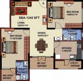 1245 sqft, 2 bhk Apartment in Mahaveer Riviera JP Nagar Phase 7, Bangalore at Rs. 25000