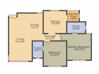 1210 sqft, 2 bhk Apartment in Savvy Swaraaj Sports Living Gota, Ahmedabad at Rs. 40.1100 Lacs