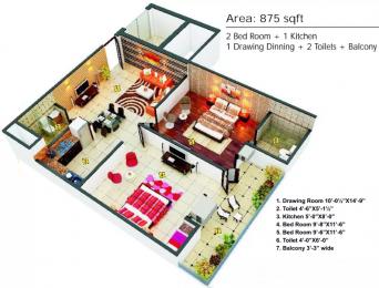 875 sqft, 2 bhk Apartment in Dreamz Hardik Tower 1 Sector 53, Noida at Rs. 12500
