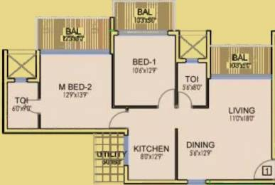 1208 sqft, 2 bhk Apartment in Dhoot Time Residency Sector 63, Gurgaon at Rs. 96.9400 Lacs