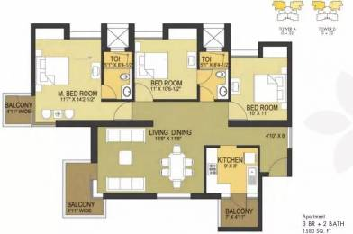 1580 sqft, 3 bhk Apartment in Pioneer Pioneer Park PH 1 Sector 61, Gurgaon at Rs. 1.1500 Cr