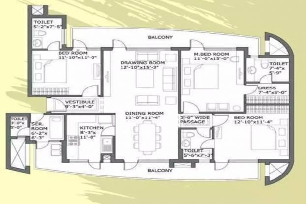 2050 sqft, 3 bhk Apartment in Chintels Paradiso Sector 109, Gurgaon at Rs. 95.0000 Lacs