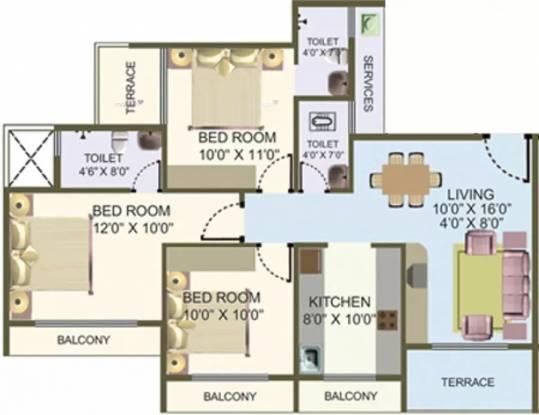 1525 sqft, 3 bhk Apartment in Nisarg Hyde Park Kharghar, Mumbai at Rs. 1.5300 Cr