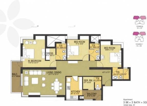 1950 sqft, 3 bhk Apartment in Pioneer Pioneer Park PH 1 Sector 61, Gurgaon at Rs. 1.4002 Cr