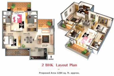 1284 sqft, 2 bhk Apartment in Alliance The Eminence Gazipur Road, Chandigarh at Rs. 48.9000 Lacs
