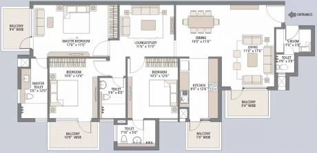 1900 sqft, 3 bhk Apartment in Emaar Palm Gardens Sector 83, Gurgaon at Rs. 28000