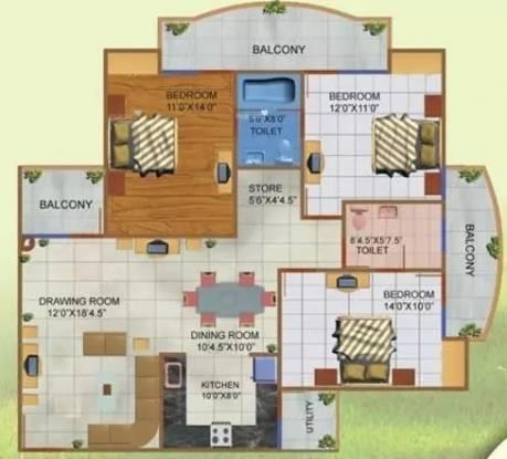 1800 sqft, 3 bhk Apartment in JNC Princess Park Ahinsa Khand 2, Ghaziabad at Rs. 68.0000 Lacs