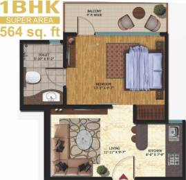 564 sqft, 1 bhk Apartment in Oxirich Square One Ahinsa Khand 2, Ghaziabad at Rs. 40.0000 Lacs