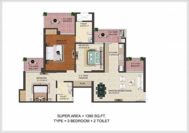 1390 sqft, 3 bhk Apartment in JM Florence Techzone 4, Greater Noida at Rs. 42.9510 Lacs