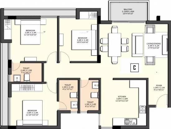 1400 sqft, 3 bhk Apartment in Sidharth County Thoraipakkam OMR, Chennai at Rs. 30000